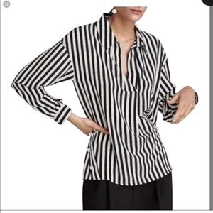 ZARA || basic black white stripe pearl blouse SM